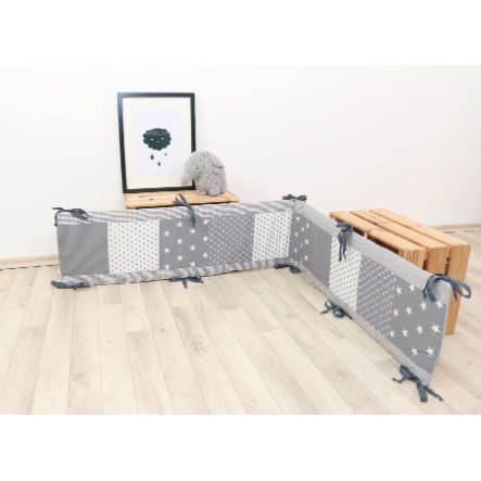 Ullenboom Patchwork -Nido del box 100x100 cm Stelle grigie (200 cm)