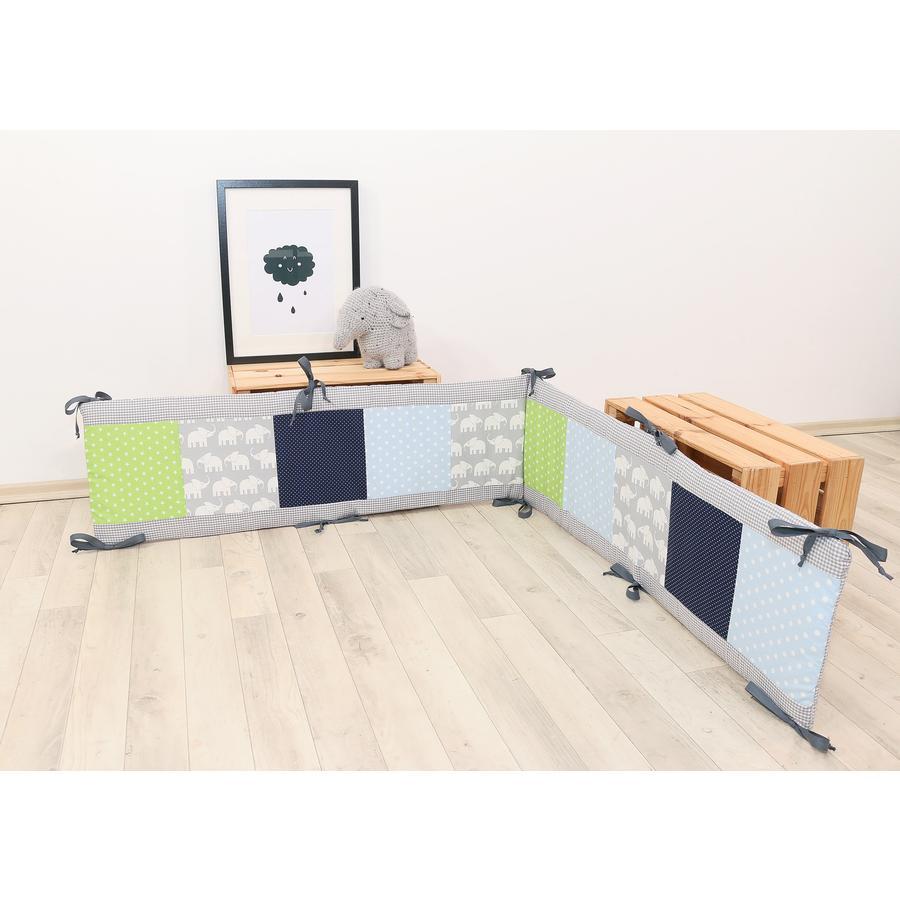 Ullenboom Lappteknik Spjälskydd till lekhage 100x100 cm Elefant blå/grön  (400 cm)