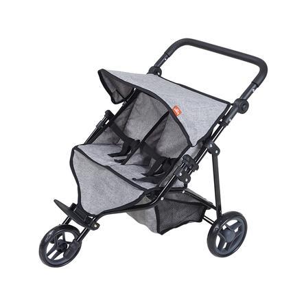 knorr® toys Bliźniaczy wózek dla lalek Duo - jeans grey