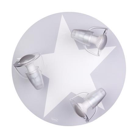 WALDI Taklampe grå med stjernehvit 3-flg.