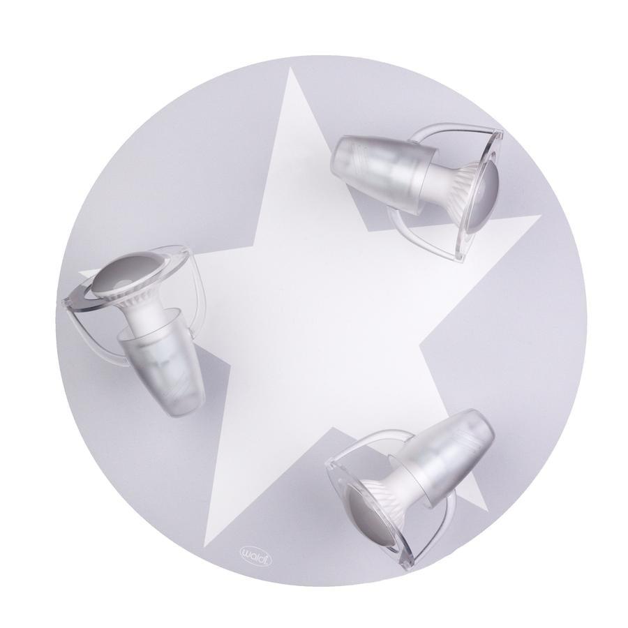 WALDI Plafonnier enfant gris, étoile blanche, 3 lumières