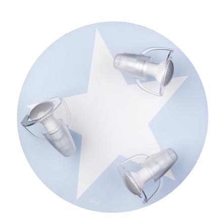 WALDI Deckenleuchte hellblau mit Stern weiß 3-flg.