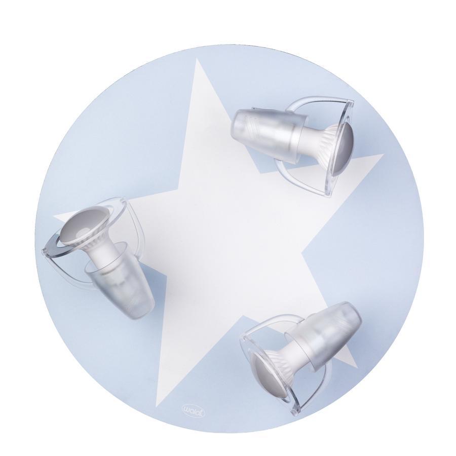 WALDI Stropní lampa světle modrá s hvězdnou bílou 3-flg.