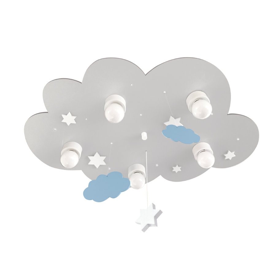 WALDI Stropní svítidlo oblačno šedé s mraky a hvězdami 5-flg.