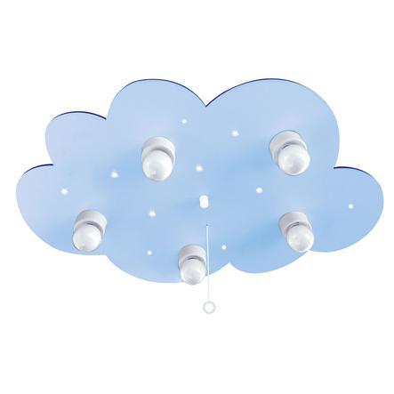 WALDI Plafonnier enfant nuage bleu clair, 5 lumières