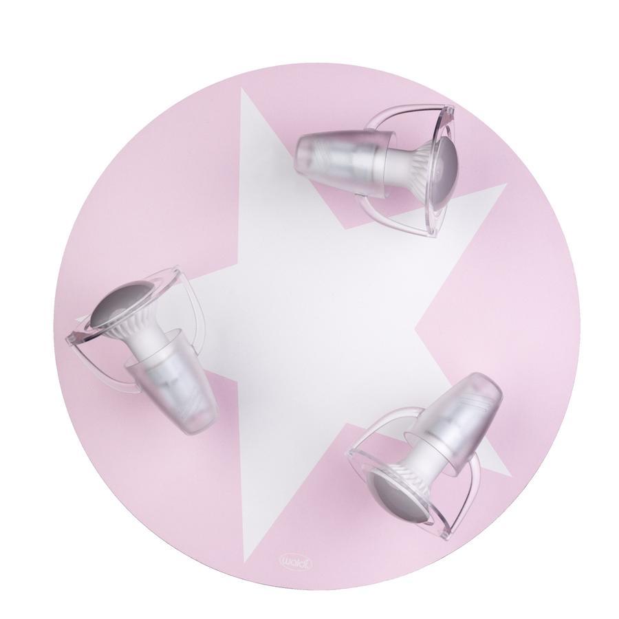 WALDI Deckenleuchte rosa mit Stern weiß 3-flg.