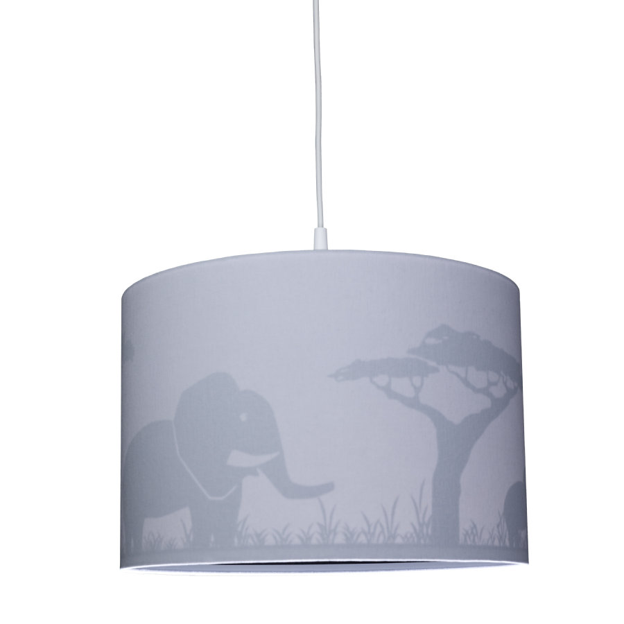 WALDI Pendelleuchte grau Silhouette Elefant 1-flg.