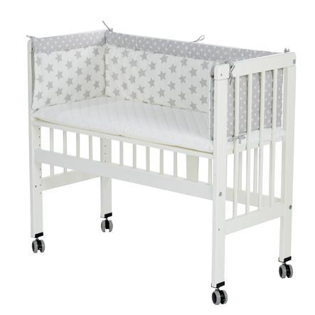 Alvi® Lettino co-sleeping per letto a casse elastiche, bianco 608-9 Stars grigio