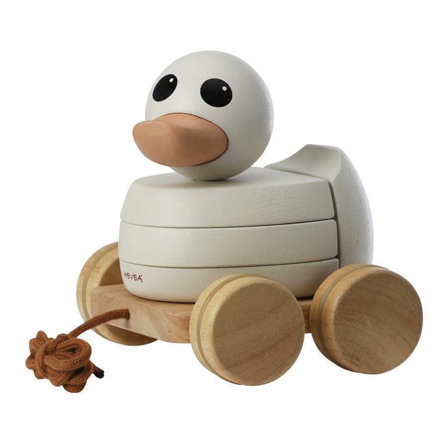 HEVEA Tahací zvířecí a stohovací hračková kachna KAWAN vyrobená ze dřeva