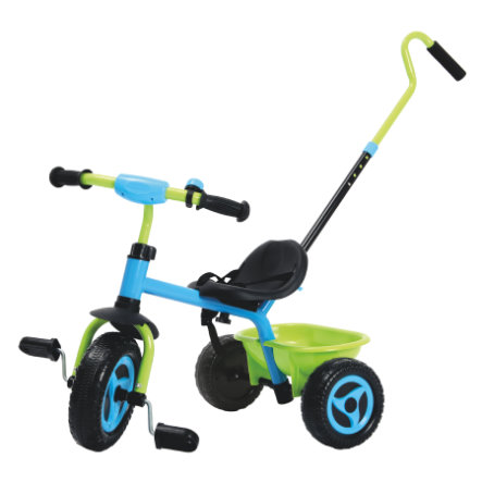 Triciclo con asta di spinta, blu