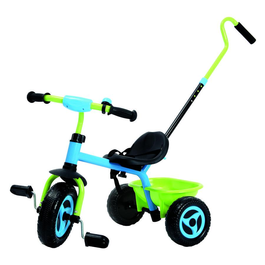 Tricykel med skubbestang, blå