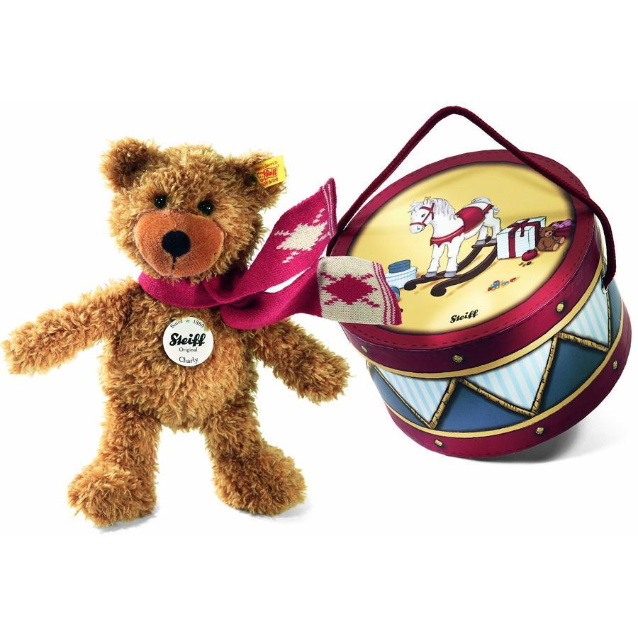 STEIFF Ours Teddy-pantin Charly avec son écharpe, brun doré 23 cm
