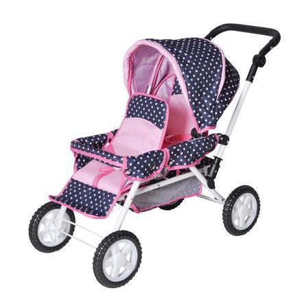 knorr® toys twin doll vaunut Big Twin - valtameren vaaleanpunaiset pisteet