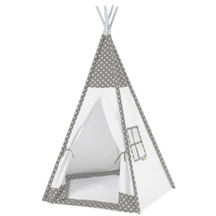 howa Tipi Tent Toni grijs/wit, met vloermat, met vloermat