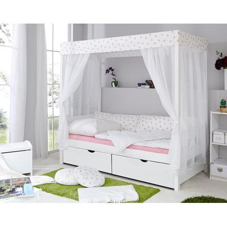 TiCAA Himmelbett Weiß-Rosa mit 2 Schubladen