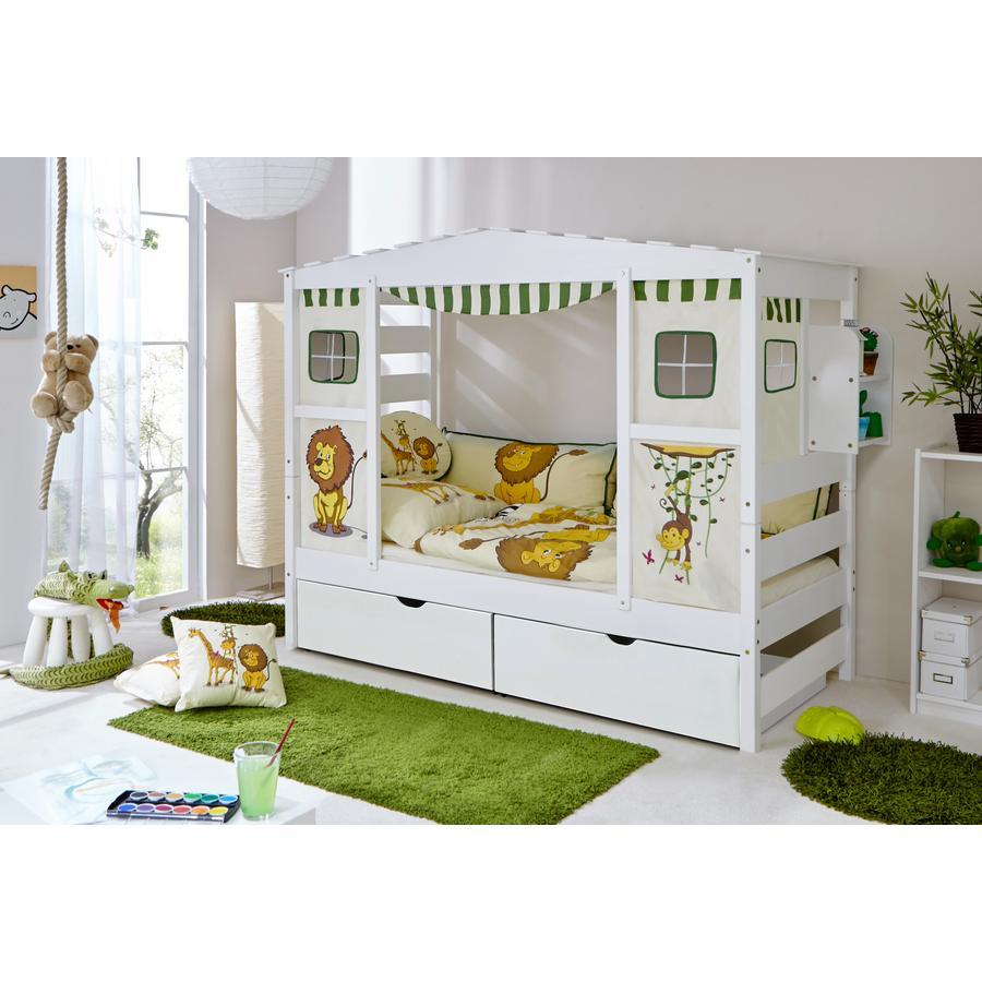 TiCAA Hausbett 2 Schubladen Safari