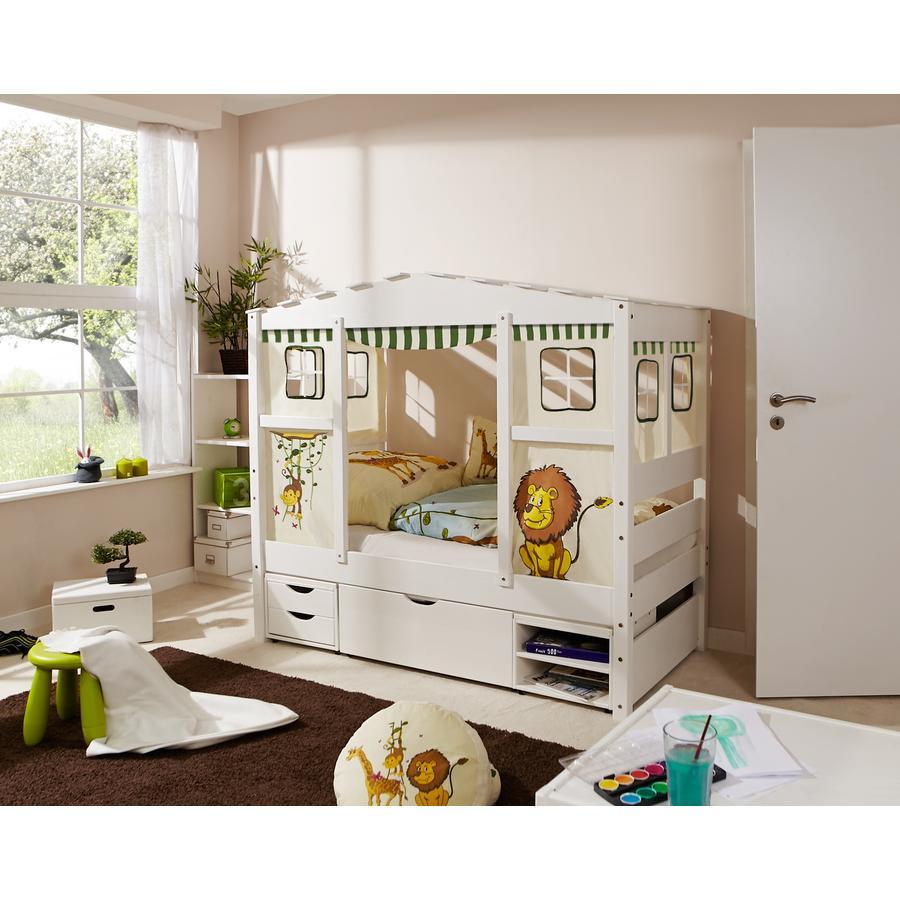 TiCAA Hausbett Mini mit 3 Schubladen Safari