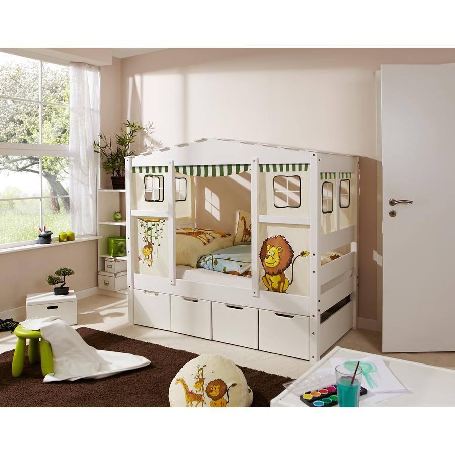 TiCAA Hausbett Mini mit 4 Schubladen Safari