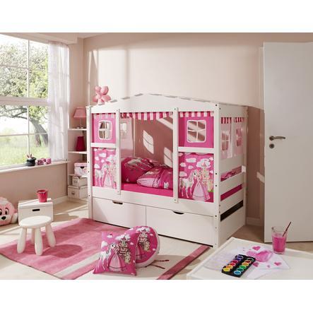 TiCAA Hausbett Mini mit 2 Schubladen Prinzessin Rosa