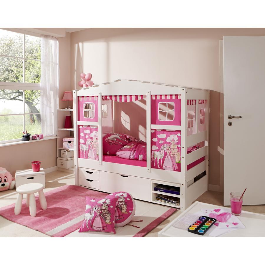 TiCAA Hausbett Mini mit 3 Schubladen Prinzessin Rosa