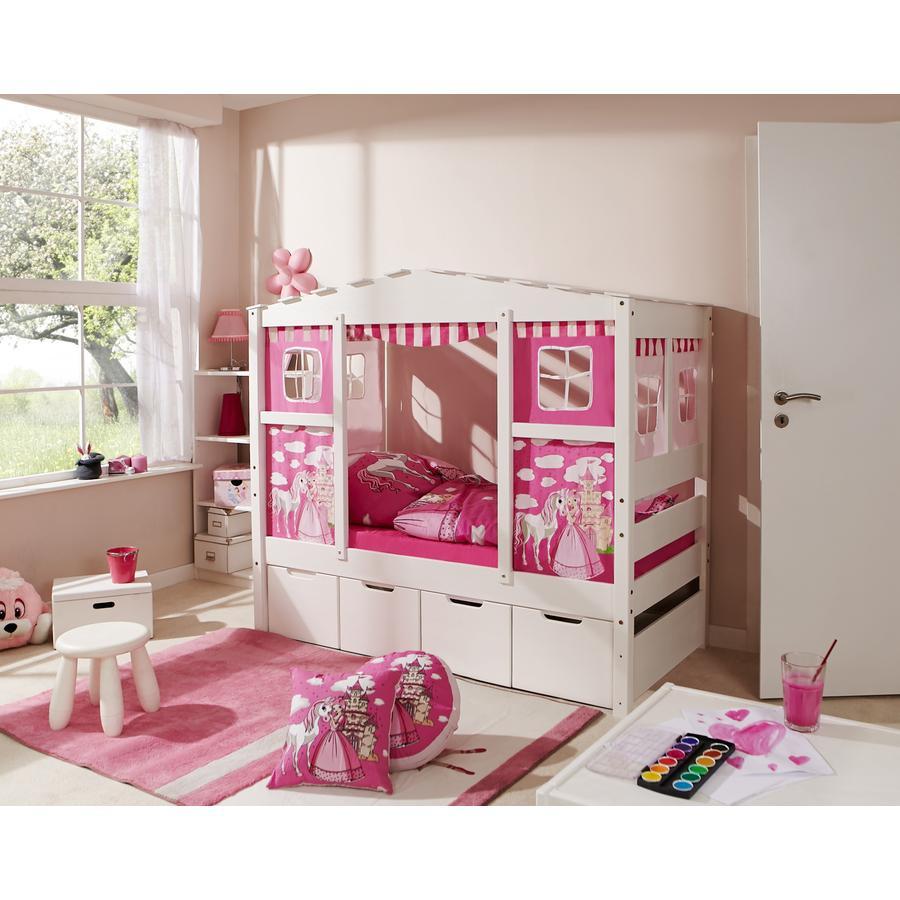 TiCAA Hausbett Mini mit 4 Schubladen Prinzessin Rosa