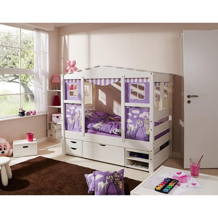 TiCAA Hausbett Mini mit 3 Schubladen Prinzessin Lila