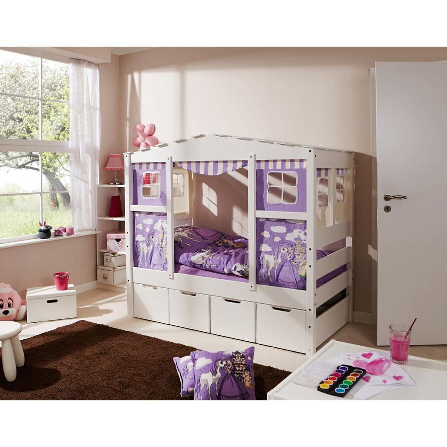 TiCAA Hausbett Mini mit 4 Schubladen Prinzessin Lila
