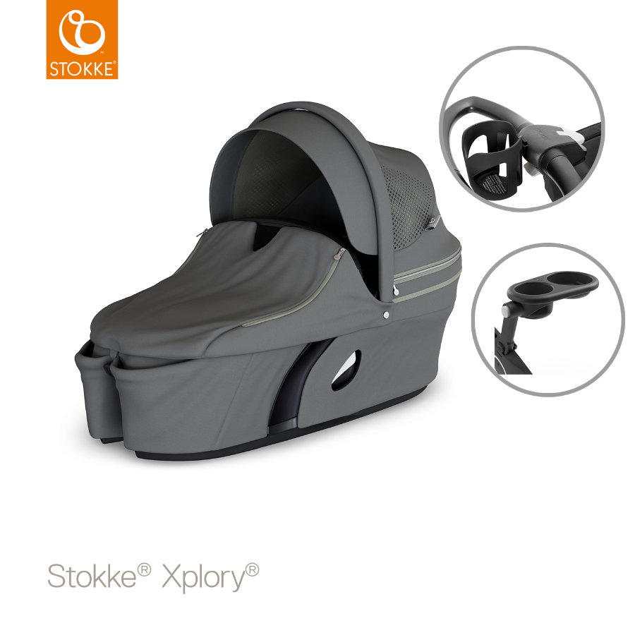STOKKE® Tragewanne Xplory® V6 Athleisure Green inklusive Snack Tray und Cup Holder