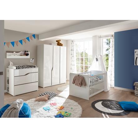 TiCAA Babyzimmer Paul 4-teilig weiß-Eiche 3-türig