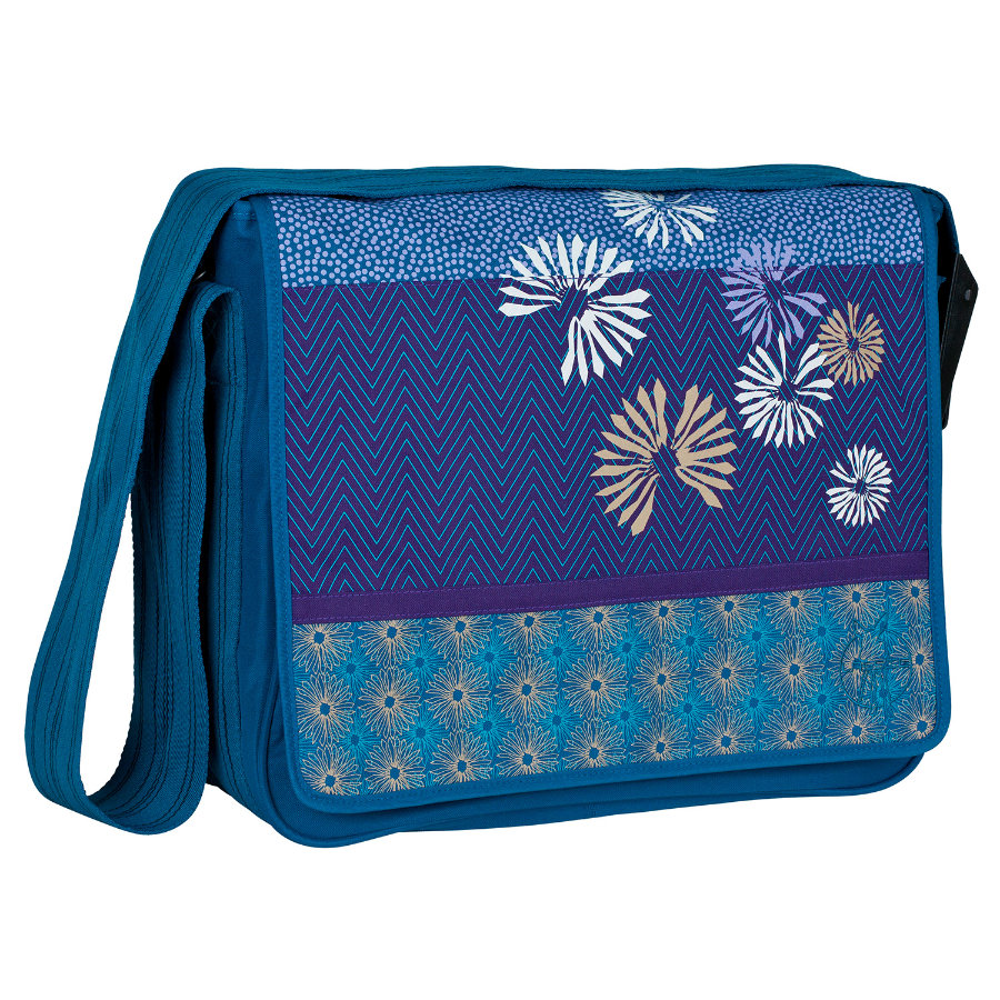 LÄSSIG Wickeltasche Casual Messenger Bag Bloom petrol