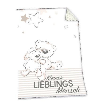 Flauschdecke Motiv Nashorn 75x100 cm Kuscheldecke Babydecke Schmusedecke