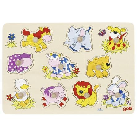 goki Steckpuzzle aus Holz Tierkinder II 10 Teile