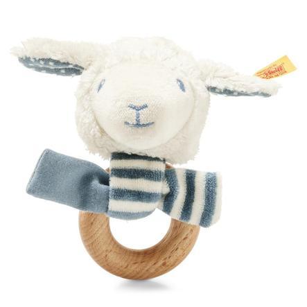 Steiff Leno lamhandrim med skrangler, blå, 12 cm