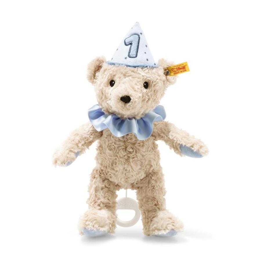 Steiff 1. bursdag bamse guttemusikkboks, blå, 26 cm