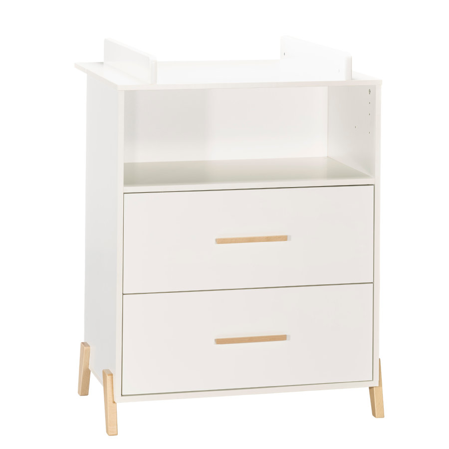 Baby Price Commode à langer Joy Naturel 2 tiroirs 1 niche 76x103x66 cm