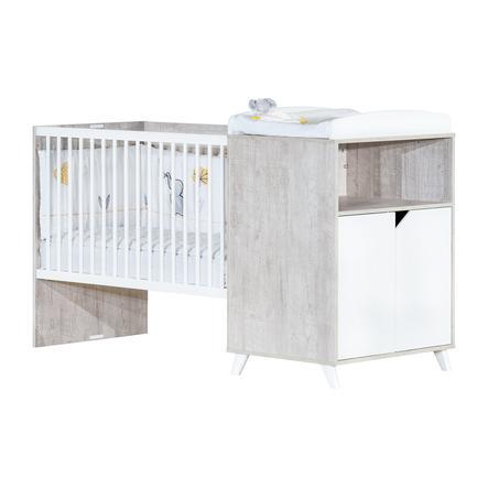 Baby Price Lit enfant évolutif Scandi Gris 60x120 cm/90x190 cm, commode