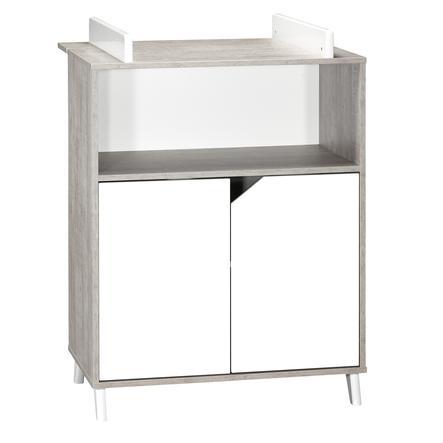 Baby Price Commode à langer Scandi Gris 2 tiroirs 1 niche 76x103x66 cm