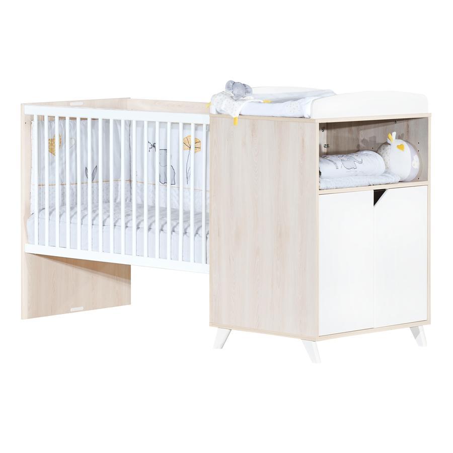 Baby Price Lit enfant évolutif Scandi Naturel 60x120 cm/90x190 cm, commode