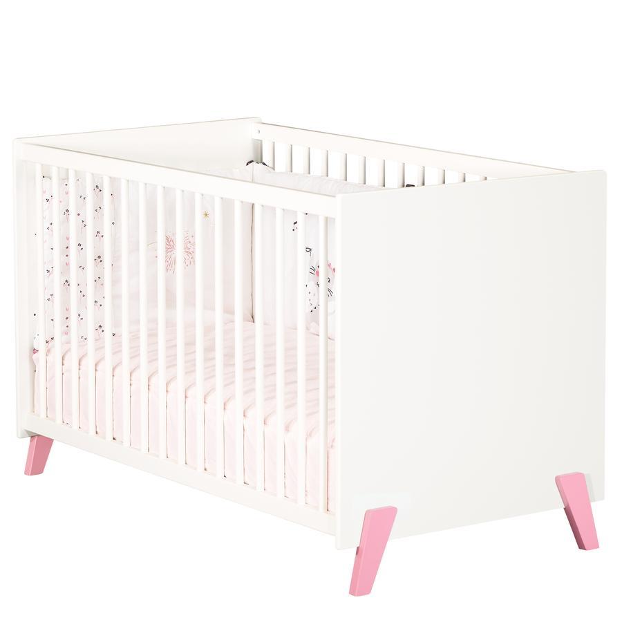 Baby Price Lit bébé Joy Rose 60x120 cm 3 positions pieds roses