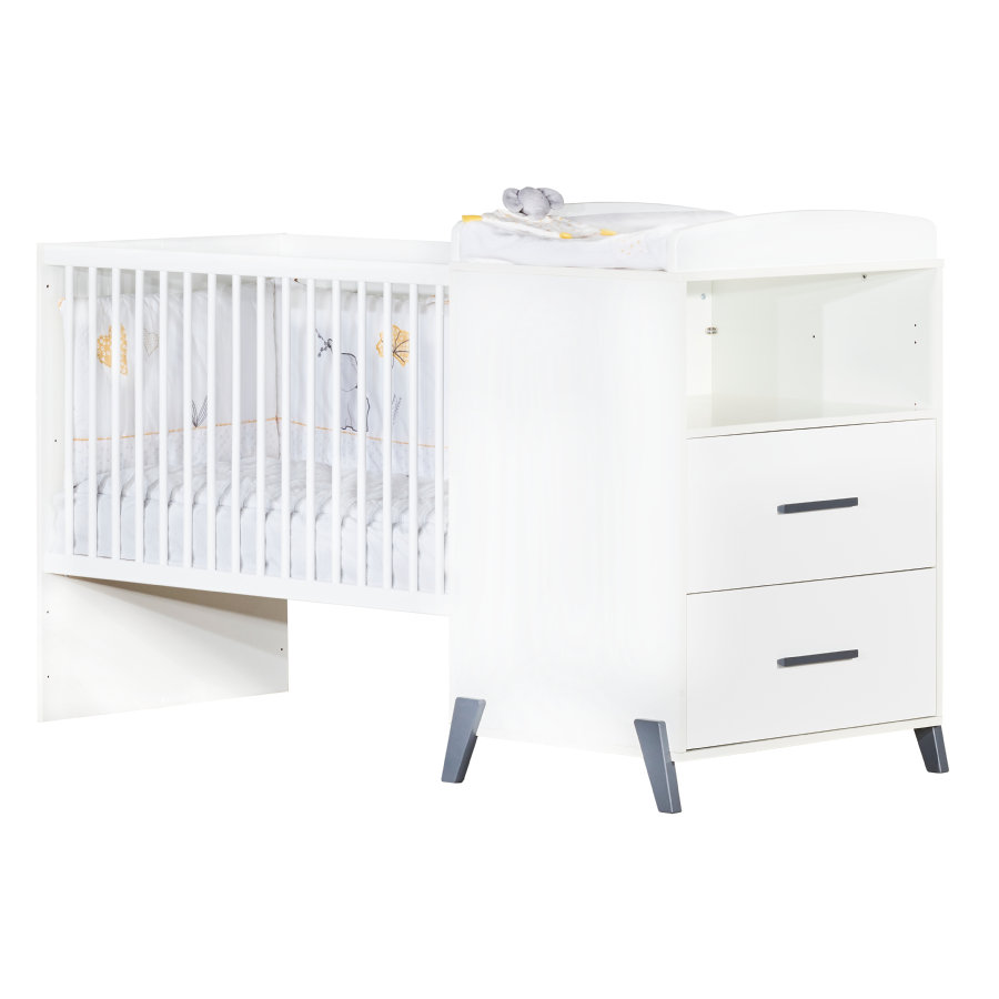 Baby Price Lit enfant évolutif Joy Gris 60x120 cm/90x190 cm, commode