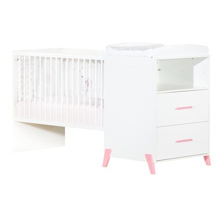 Baby Price Lit enfant évolutif Joy Rose 60x120 cm/90x190 cm, commode