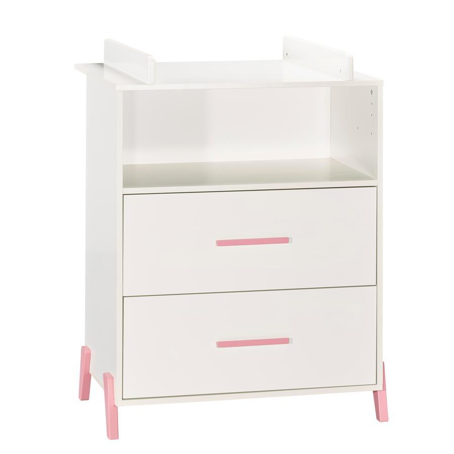 Baby Price Commode à langer Joy Rose 2 tiroirs 1 niche 76x103x66 cm