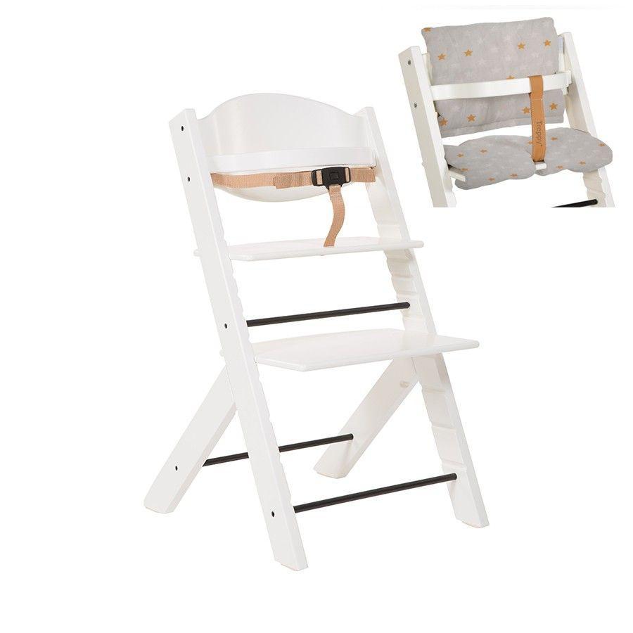 Treppy® Hochstuhl weiß + Gratis Sitzkissen Stars