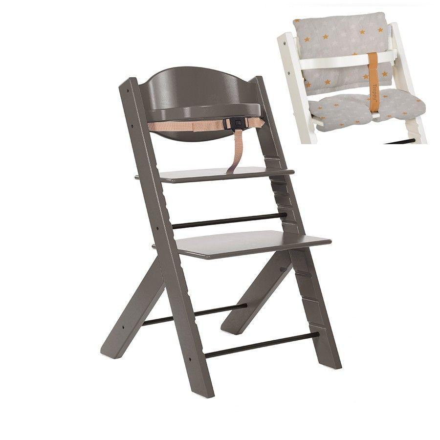 Treppy® Kinderstoel grijs + gratis zitkussen Stars