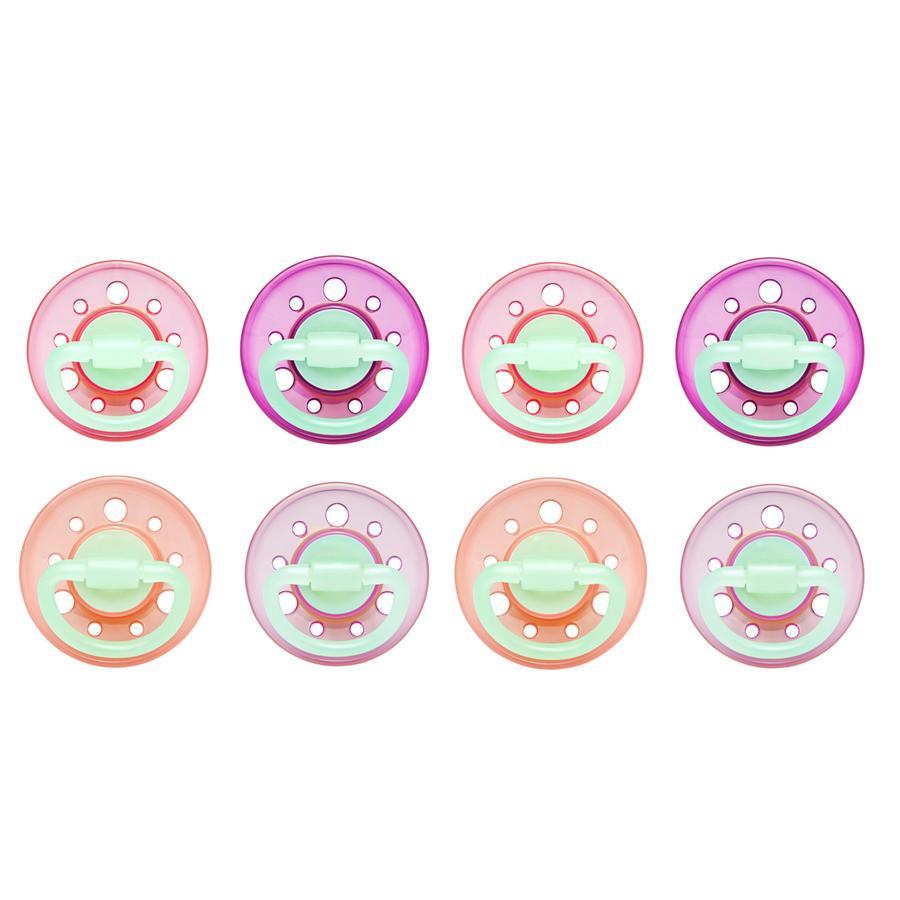 nip Succhietto a forma circolare di ciliegia che si illumina al buio Girl Gr. 1, dalla nascita rosa/fucsia/viola/lilla 8 pezzi