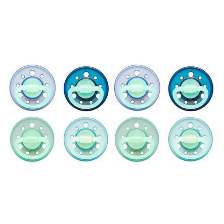 nip fopspeen Cherry Rond Boy Gr. 1 vanaf de geboorte blauw/grijs/donkerblauw/turquoise 8 stuks
