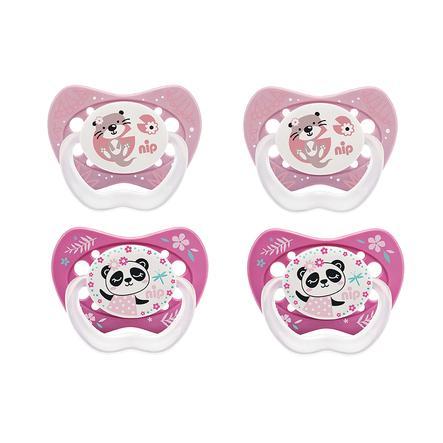 nip Dummy Life størrelse 1 fra fødselsilikon Panda og Otter 4 stykker
