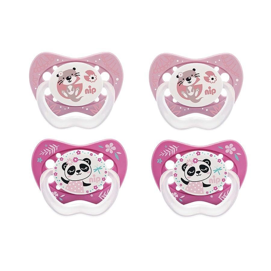nip Schnuller Life Gr. 1 ab der Geburt Silikon Panda und Otter 4 Stück