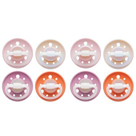 nip Dummy Cherry rund sugekopp Jente størrelse 2 fra 6. måned rosa / rosa / rød / oransje 8 stykker
