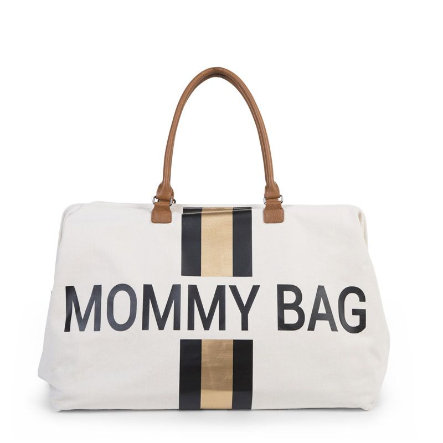 CHILDHOME Mommy Bag Groot Canvas Grey Stripes Black / Gold